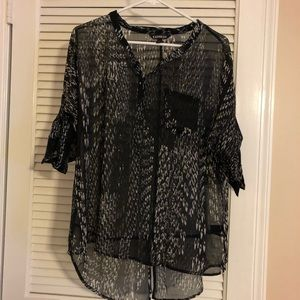 Express black button down sheer top, size M